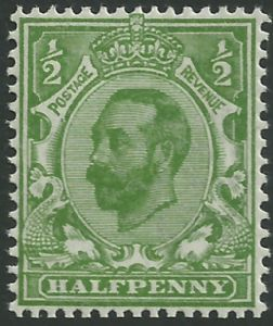 SG324 ½d Yellow Green Type I Die B Crown Watermark Unmounted Mint (King George V Downey Head Stamps)